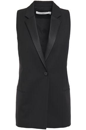 Victoria Beckham | Victoria Beckham Woman Satin-trimmed Wool-twill Vest Black | Clouty