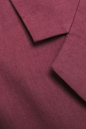 Brunello Cucinelli | Brunello Cucinelli Woman Double-breasted Linen And Cotton-blend Blazer Plum | Clouty