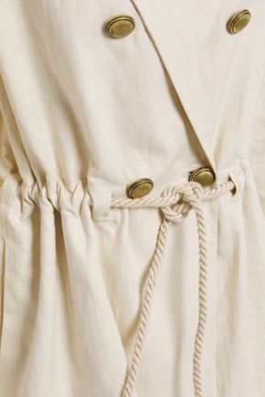 Brunello Cucinelli | Brunello Cucinelli Woman Double-breasted Gathered Bead-embellished Linen And Cotton-blend Blazer Cream | Clouty