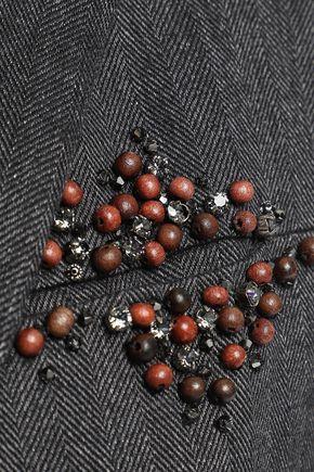 Brunello Cucinelli | Brunello Cucinelli Woman Embellished Herringbone Cotton-blend Blazer Charcoal | Clouty
