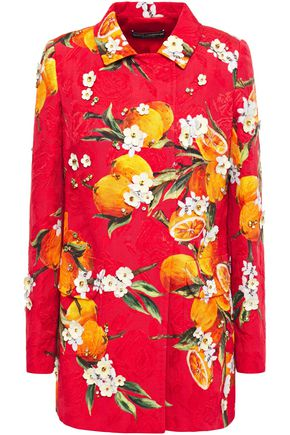 Dolce & Gabbana | Dolce & Gabbana Woman Embellished Printed Cotton-blend Jacquard Jacket Red | Clouty