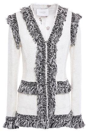 Giambattista Valli | Giambattista Valli Woman Fringed Tweed Jacket Ivory | Clouty