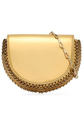 Paco Rabanne | Paco Rabanne Woman Embellished Mirrored Faux Patent-leather Shoulder Bag Gold Size | Clouty