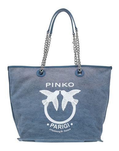 PINKO | Синий; Светло-розовый Женская синяя сумка на плечо PINKO макси | Clouty