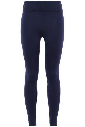 Koral | Koral Woman Drive Serpentine Stretch Jacquard-knit Leggings Navy | Clouty
