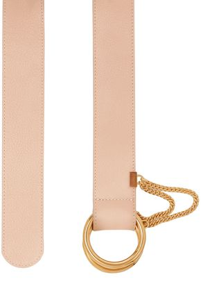 Chloé | Chloe Woman Chain-embellished Textured-leather Belt Neutral | Clouty