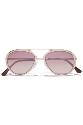 Tom Ford   Tom Ford Woman Aviator-style Gold-tone Sunglasses Blush   Clouty