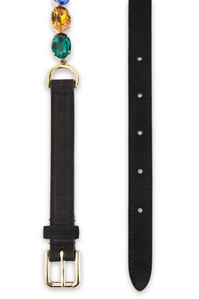 Dolce & Gabbana   Dolce & Gabbana Woman Crystal And Suede Belt Multicolor   Clouty