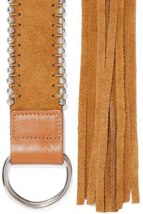 IRO | Iro Woman Tyler Fringed Bead-embellished Suede Belt Beige | Clouty