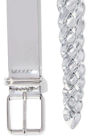 IRO | Iro Woman Besano Braided Mirrored-leather Belt Silver | Clouty