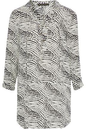 Vix By Paula Hermanny | Vix Paula Hermanny Woman Ellie Lace-up Printed Gauze Tunic Stone | Clouty