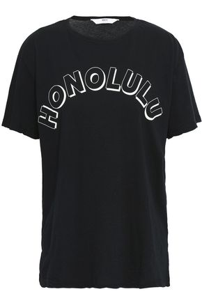 Mikoh | Mikoh Woman Printed Cotton-jersey T-shirt Black | Clouty