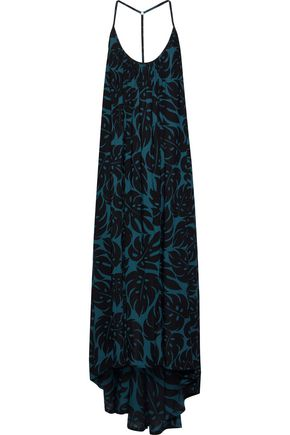 Mikoh | Mikoh Woman Open-back Printed Woven Maxi Dress Petrol | Clouty
