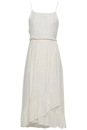 Sundress | Sundress Woman Gathered Sequin-embellished Gauze Midi Dress Off-white | Clouty
