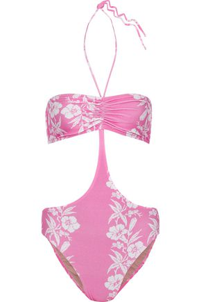 Adriana Degreas   Adriana Degreas Woman Cutout Ruched Floral-print Halterneck Swimsuit Pink   Clouty