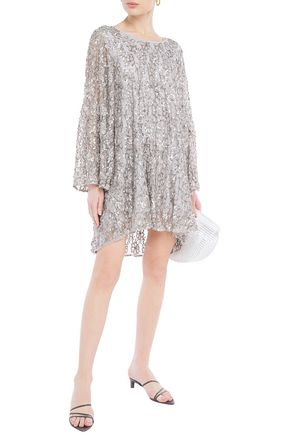 Sundress | Sundress Woman Tasseled Embellished Tulle Mini Dress Stone | Clouty