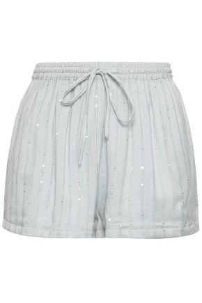 Sundress   Sundress Woman Sequin-embellished Gauze Shorts Stone   Clouty