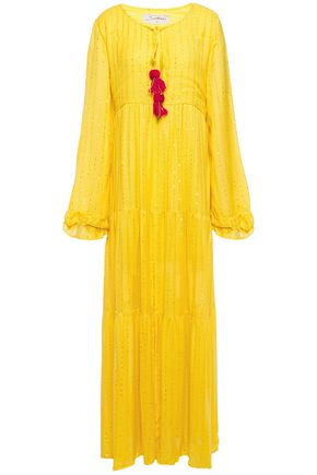 Sundress | Sundress Woman Embellished Gauze Maxi Dress Yellow | Clouty