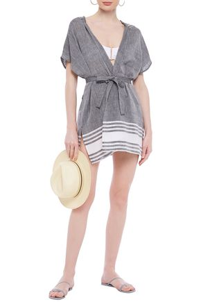 Sundress | Sundress Woman Striped Cotton And Lurex-blend Gauze Hooded Coverup Black | Clouty