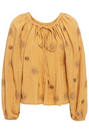 Sundress   Sundress Woman Gathered Embellished Gauze Top Camel   Clouty