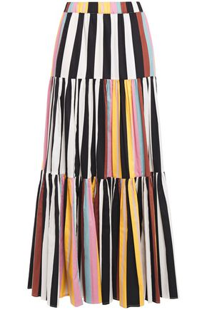 Tory Burch | Tory Burch Woman Tiered Striped Cotton Maxi Skirt Black | Clouty