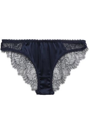 Stella McCartney | Stella Mccartney Woman Gigi Giggling Silk-blend Satin And Lace Low-rise Briefs Navy | Clouty