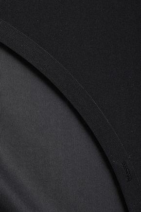 Stella McCartney | Stella Mccartney Woman Grace Glowing Mesh-trimmed Stretch-jersey Low-rise Briefs Black | Clouty