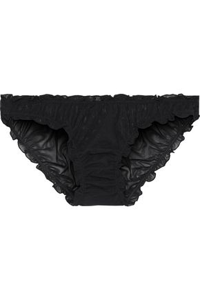 LOVE STORIES | Love Stories Woman Lolita Ruched Embroidered Stretch-tulle Low-rise Briefs Black | Clouty