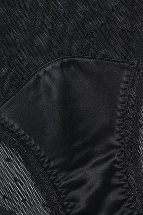 Stella McCartney   Stella Mccartney Woman Kate Cuddling Silk-saitn And Point D'esprit Mid-rise Briefs Black   Clouty