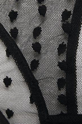 Le Petit Trou | Le Petit Trou Woman Vivienne Cutout Swiss-dot Stretch-tulle Low-rise Briefs Black | Clouty