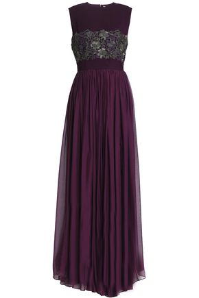 Zuhair Murad | Zuhair Murad Woman Pleated Chiffon, Crepe And Metallic Lace Gown Purple | Clouty