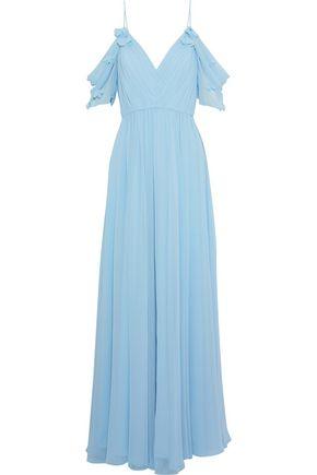 Badgley Mischka | Badgley Mischka Woman Cold-shoulder Floral-appliqued Chiffon Gown Sky Blue | Clouty