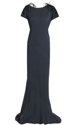 Brunello Cucinelli | Brunello Cucinelli Woman Feather-trimmed Embellished Crepe Gown Midnight Blue Size | Clouty