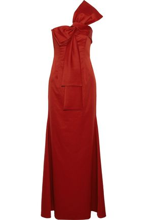 SACHIN & BABI | Sachin & Babi Woman Emmeline One-shoulder Bow-embellished Satin-faille Gown Crimson | Clouty