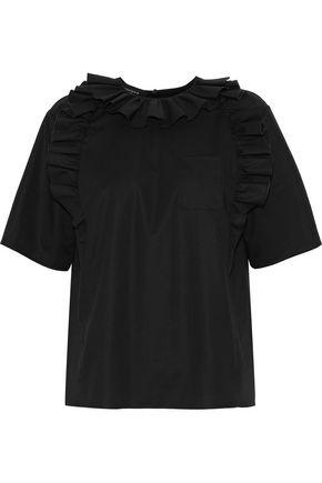 Rochas   Rochas Woman Mya Ruffle-trimmed Cotton-blend Poplin Blouse Black   Clouty