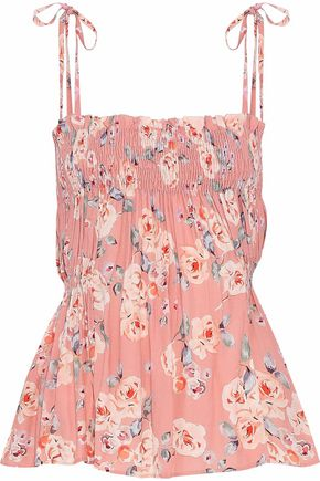 LOVE SAM | Love Sam Woman Gathered Floral-print Crepe Top Antique Rose | Clouty