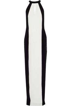 RACHEL GILBERT | Rachel Gilbert Woman Bettina Bead-embellished Lace-paneled Silk Gown Black Size 4 | Clouty