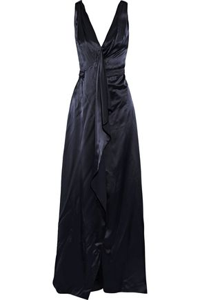 Carolina Herrera | Carolina Herrera Woman Draped Satin Gown Midnight Blue | Clouty