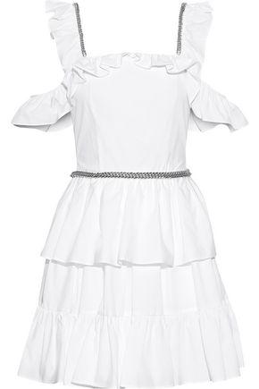 CHRISTOPHER KANE | Christopher Kane Woman Cold-shoulder Ruffled Cotton-poplin Mini Dress White | Clouty