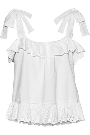 LOVE SAM   Love Sam Woman Rosa Exelit Ruffled Broderie Anglaise Cotton Top White   Clouty