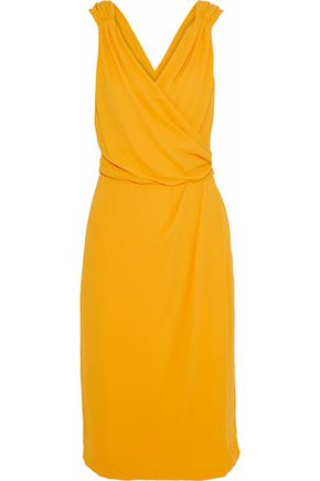 Raoul | Raoul Woman Celina Wrap-effect Ruched Silk-crepe Gown Saffron | Clouty