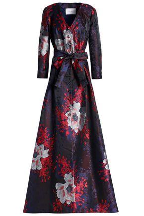 Carolina Herrera | Carolina Herrera Woman Floral-print Jacquard Gown Burgundy | Clouty