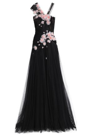 Marchesa | Marchesa Woman Feather-embellished Floral-appliqued Tulle Gown Black | Clouty