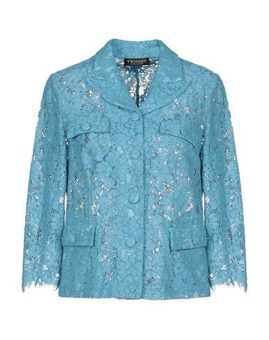 Twin-Set | Лазурный; Светло-розовый Женский лазурный пиджак TWINSET кружево | Clouty