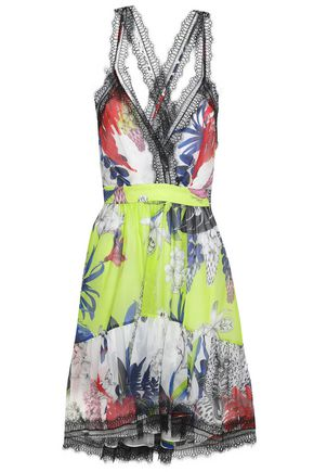 JUST CAVALLI | Just Cavalli Woman Lace-trimmed Floral-print Silk-organza Dress Multicolor | Clouty