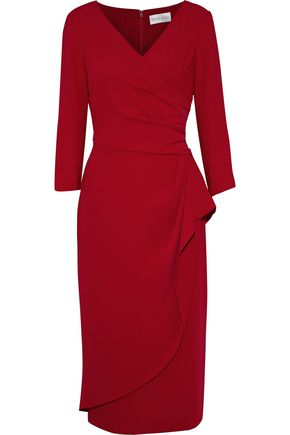 Mikael Aghal | Mikael Aghal Woman Wrap-effect Crepe Midi Dress Red | Clouty