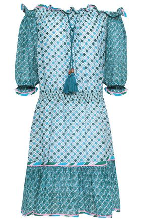 Talitha | Talitha Woman Off-the-shoulder Printed Cotton And Silk-blend Mini Dress Azure | Clouty