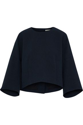 TIBI | Tibi Woman Mica Cropped Button-detailed Crepe Top Midnight Blue Size | Clouty