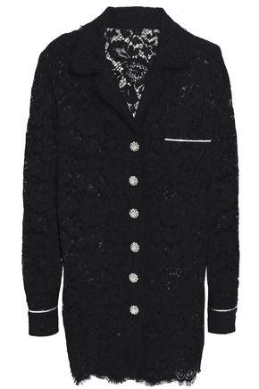 Dolce & Gabbana | Dolce & Gabbana Woman Satin-trimmed Corded Lace Blazer Black | Clouty