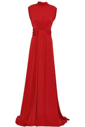 Vionnet | Vionnet Woman Cutout Silk-blend Crepe Gown Claret | Clouty